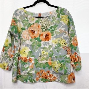 Anthropologie HD in Paris floral 3/4 sleeve top